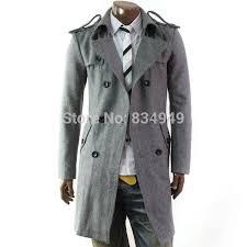 custom made grey trench coat men double ted winter overcoat men long coat cashmere