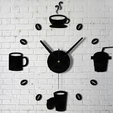 Small Picture Aliexpresscom Buy Coffee Cups Kitchen Wall Art Mirror Clock