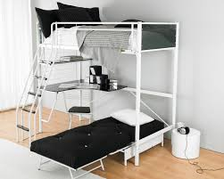 Bedroom:Black Bunk Bed With Two Beds Connected By White Iron Holder Frame  And Stairs
