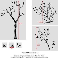 large tree with birds wall stencil reusable stencil for better than wallpaper