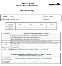 Sample School Report Impressive Elementary Report Card Template