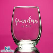 grandma est 2018 stemless wine glass