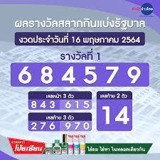 ผลรางวัลสลากกินแบ่งรัฐบาล งวดวันที่ 16 พฤษภาคม 2564 - สำนักข่าวไทย อสมท