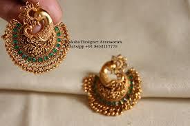 Chandbali Design Beautiful Chaandbali In One Gram Gold Chandbali In Peacock