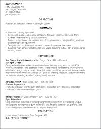 Personal Training Resume Sample Athletic Trainer Resume Athletic ...