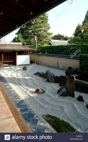 Stock Photo - Zen raked gravel garden at Zuiho-in within Daitokuji Temple  Kyoto Japan