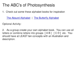 Photosynthesis Alphabet Chart Ppt Co 7 Powerpoint Presentation Id 5780290