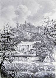 drawing landscape with waterfall