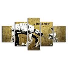 Płótno jest naciągnięte na lekką, ale stabilną ramę wykonaną z materiałów przyjaznych dla środowiska. Am I Your Father By Banksy 5 Panel Canvas Wall Art Canvasx Net