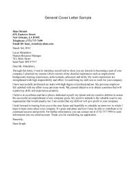 Sample Of A General Cover Letter For Resume Adriangatton Com