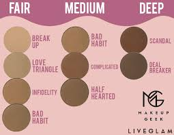 our palette s contour shades include break up bad habit half hearted and cool deep from makeup geek