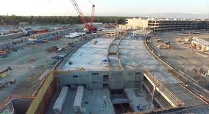 watch a drone flyover of the construction of apples new cupertino campus treehugger apple new office