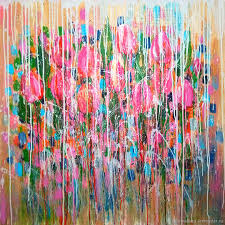 flower painting handmade livemaster handmade bright pink colour painting abstract flowers tulips