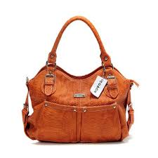 Coach Embossed Medium Orange Satchels 51453