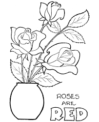 Small Picture coloring sheet of rose vase to print rose flower printable