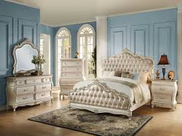 Bedroom White Queen Set Beautiful The Acme Q 4pcs Chantelle Rose Gold Pu  Pearl Rustic.