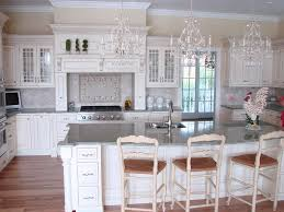 Kitchen:French Country Kitchen With Big Island And Twin Pendant Lamp White  French Country Kitchen