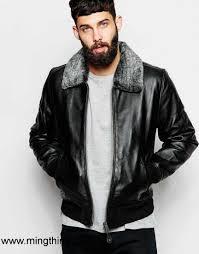 2017 canada men black men schott leather er jacket with faux fur collar av8600464