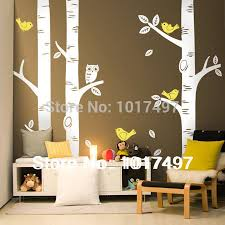 tree wall decal bird decor free shipping oversized birch tree wall decals for nursery baby nurser