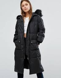 new look faux fur padded maxi coat black women coats new look boots high end