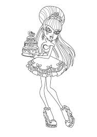 Small Picture Monster High Character Bring Birthday Cake Coloring Page Color Luna