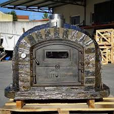 wood fired pizza oven with cast iron door made in portugal