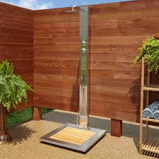 Outdoor Shower Abner Outdoor Stainless Steel Shower Panel With Bamboo Tray Outdoor