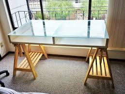 glass top ikea desk nice