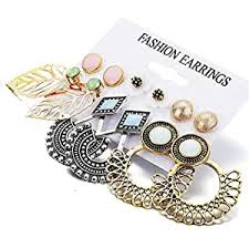 Buy Shining Diva <b>Fashion 6 Pairs</b> Combo Stylish Drop Earrings for ...