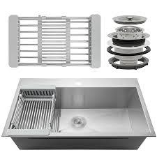 Akdy 30 X 18 X 9 Handmade Stainless Steel Top Mount Kitchen Sink