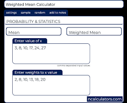 weighted mean calculator formula