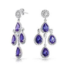 bling jewelry color crown cubic zirconia teardrop chandelier earrings