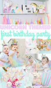 pastel unicorn first birthday party