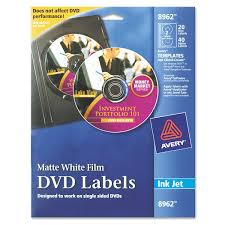 Avery Labels Dvd Amazon Com Avery Dvd Labels Matte White For Ink Jet Printers 8962