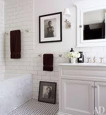 bathroom white tiles: clean crisp white amp black bathroom design with basketweave tiles floor white bathroom vanity cabinet with marble counter top large porcelain tiles