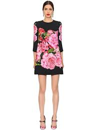 dolce gabbana roses printed cady shift dress black pink se40mti1 women clothing d g dresses outlet