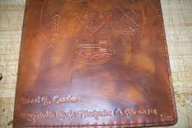custom made custom leather portfolio with masonic symbol and personalization