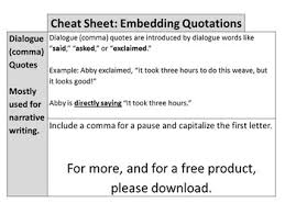 Cheat Sheet Embedding Quotations Noredink Aligned
