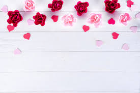 Pictures Of Hearts And Flowers Wooden White Background With Red Hearts And Flowers