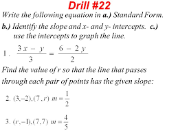 drill 22 write the following equation in a standard form