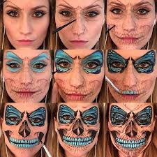 step by step flutter skull makeup facepainting facepaint faceart erfly