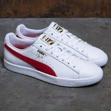 herren puma clyde leather foil weiß rot