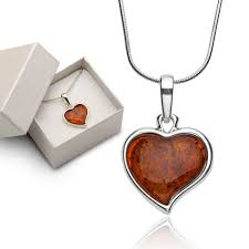 amber heart necklace silver chain with heart shaped hanger heart made of natural