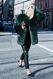 colorful faux fur can be a fun way to add some color to your style like vanessa you may go for a mustard color orange and even a forest green to lighten