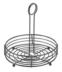 185mm black wire round table caddy