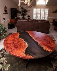 your daily dose of inspiration red gum resin river 57 round rustic modern dining table