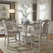 magnolia manor antique white rectangular counter height dining room set from liberty coleman furniture
