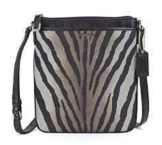 Coach Madison Zebra Print Swingpack Crossbody Bag Purse 50506 Brown