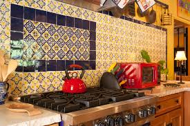 Mexican Tile Kitchen Detail Glazed Mexican Tile Backsplash In Hacienda Style Kitchen