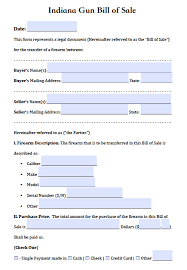 bill of sale free indiana firearm gun bill of sale form pdf word doc